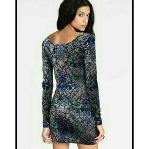 FREE PEOPLE Sleek Velvet Burnout Bodycon Dress